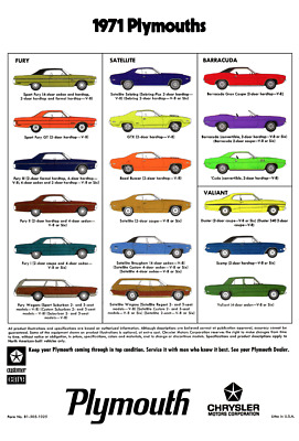 1971 Plymouth Barracuda 'Cuda Fury Duster Satellite Road Runner Ad Poster 24x36