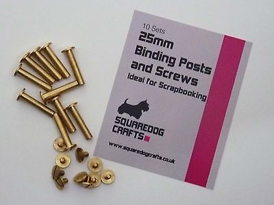 25mm CHICAGO BRASS  POSTS AND SCREWS 10 PK - IDEAL FOR BINDING AND LEATHERWORK