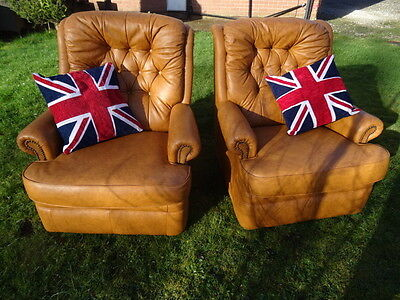 Pair Vintage Club Cigar Chesterfield Style Mustard Brown Leather High Armchairs