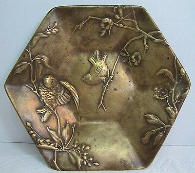 Antique 19c Austrian Bronze Berndorf Art Nouveau Birds Flowers Plate Platter