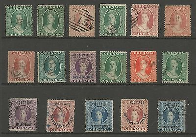 Grenada Selection Of 17 Early Victorian All Different Used Huge Cat,see Scans