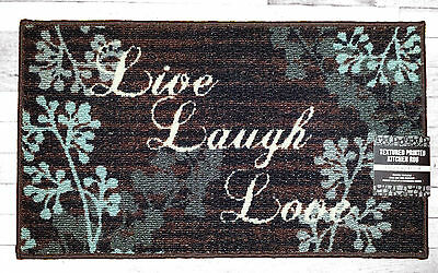 NWT LIVE LAUGH LOVE FLORAL KITCHEN MAT DOOR HOME DECOR RUG BROWN BLUE 18x30 RARE
