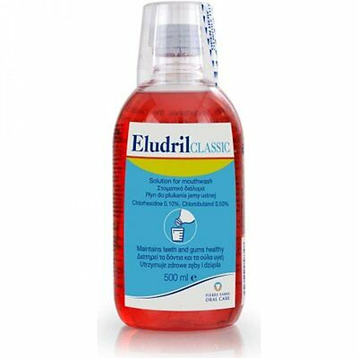 3 x Eludril Classic Mouthwash 500ml (antibacterial & anaesthetic to soothe gums)