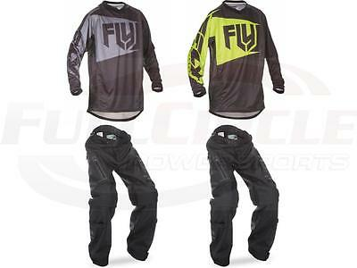 Fly Racing Patrol Black Hi-Vis Jersey & Pant Combo Over-The-Boot Dirt Bike Gear
