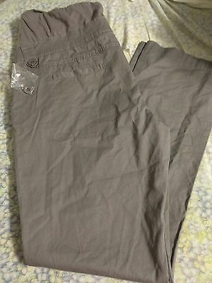 Womens Maternity Gray Over The Belly Trouser Chinos Pants Sz Large