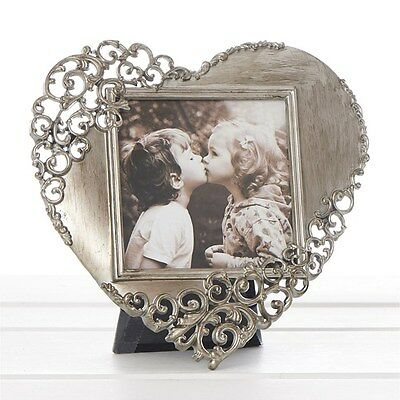 """Rustic Metal Lace Heart Photo Frame 14cm High Holds Photo 3 x 3"""" 7.6 x 7.6cm"""