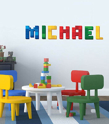 LEGO block name decal personalized custom name letter sticker baby nursery decor