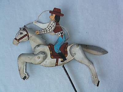 Vintage Folk Art Metal Cowboy on Horse Balance Hand Painted Toy - Parts