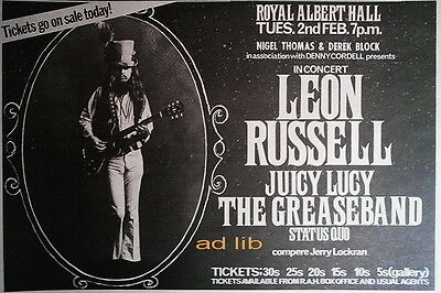 Leon Russell, Juicy Lucy, Grease Band, Status Quo - Royal Albert Hall Uk Ad 1971