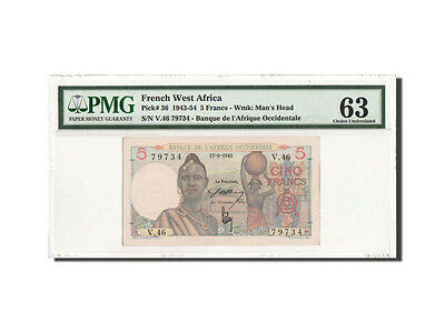 [#460058] French West Africa, 5 Francs, 17.8.1943, PMG Ch UNC 63, KM:36