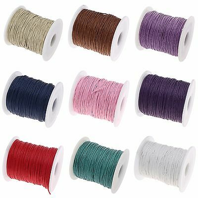 ❤ 25m or 75m x COTTON Waxed Cord CHOOSE COLOUR 1mm Jewellery Making Thread UK ❤