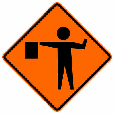 """Flagger Ahead Sign 48""""x48"""" Roll Up Sign"""