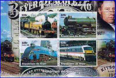 Niger 1999 (1998) Sc 1014 MNH  Trains & Locomotives  combined postage