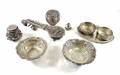 Lot of Middle Eastern Antique Silver Bowls Jars Ornate Sitar Box - 1274 GRAMS