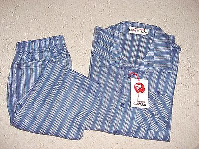 Mens Blue Stripe Flannel/brushed Cotton Pyjamas In Size S From Twisted Gorilla