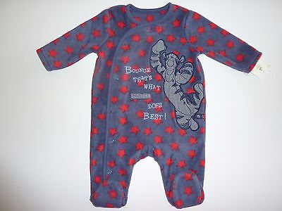 Disney TIGGER Bounce That's What TIGGER Does Best! Fleece Sleepsuit NWT