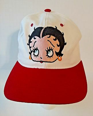 Betty Boop Hat Baseball Cap White Red Snapback Adjustable Embroidered