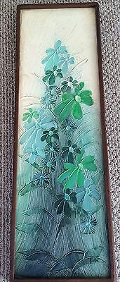 Mid Century Modern Relief Oil Painting J RUSSELL Sea Green Abstract Flower