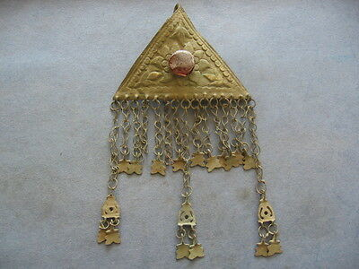"""""""triangle With Red Glass Stone & Chains"""" Ancient Celtic Gilded Bronze 200-50 B.c"""