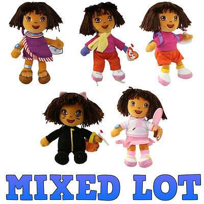TY Beanie Babies - Mixed Lot of 5 Dora the Explorers (All Different) - MWMTs