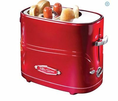 NEW Red Hotdog Grill Hot Dog Toaster Electric Retro Pop Up Nostalgia Cooker Bun
