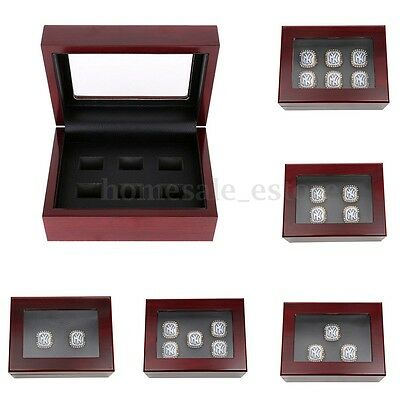 2/3/4/5/6 Slot Wooden Box Case for World Series Stanley Cup Championship Ring