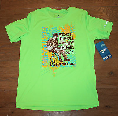NEW Men's BROOKS 2014 NEW ORLEANS MARATHON Running Shirt - Bright Green - Small