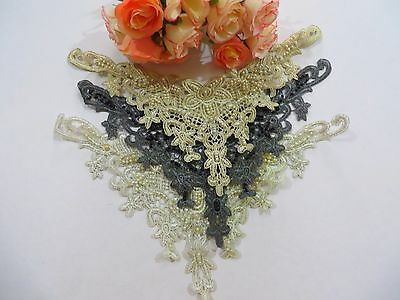 Beaded Lace Applique Motif Dance Bridal Tutu Stage #6Mi833B