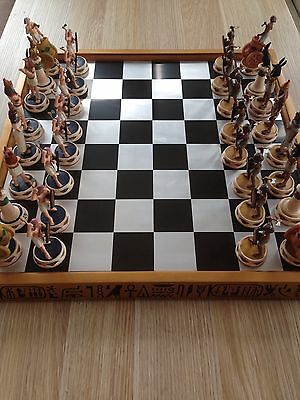 Beautiful Hand Painted Ancient Egyptian Themed Chess Set & Board