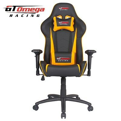 Gt Omega Pro Racing Gaming Office Chair Black Next Yellow Leather Esport Seat Ak