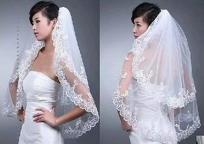 New 2T White/Ivory Elbow Lace Edge Wedding Bridal Veil With Comb