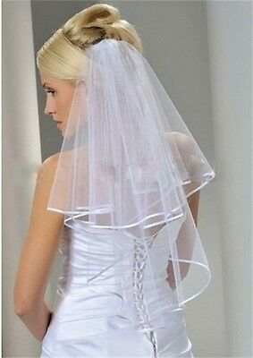 2-Layer White/Ivory Elbow Length Satin Edge Wedding Bridal Veil with Comb