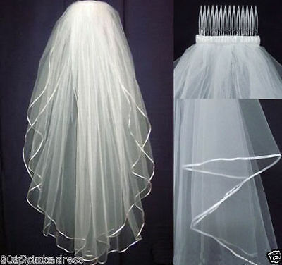 White/Ivory Veil 2 layers Wedding Bridal veil elbow Length Satin Edge with comb