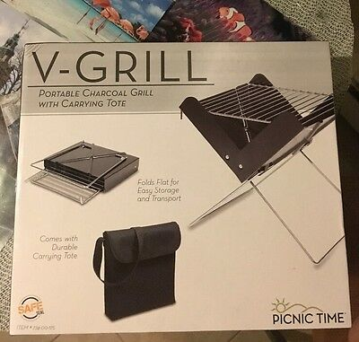 Picnic Time V-Grill Portable Charcoal Grill  With Carrying Tote New In Box