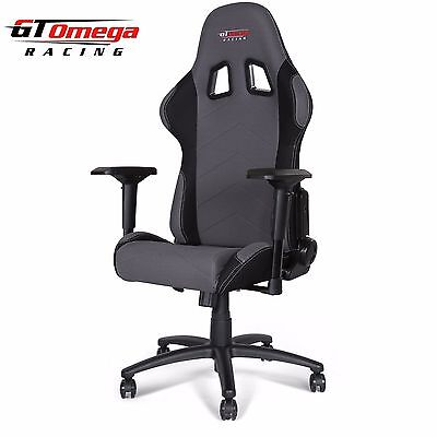 Gt Omega Pro Racing Gaming Office Chair Grey And Black Fabric Esport Seat Ak