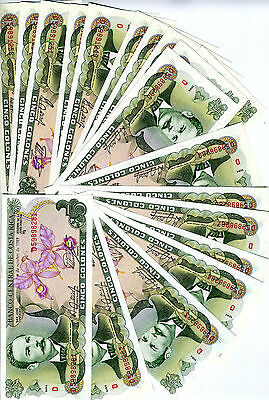 LOT Costa Rica, 20 x 5 Colones, 1989, P-236d, UNC -  colorful