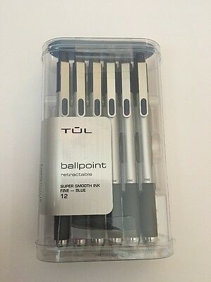 Tul Ballpoint Retractable Fine Point 0.8mm 12 Count Blue NEW