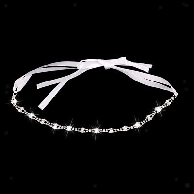 Trendy Crystal Rhinestone Headband Bridal Wedding Hair Band Ribbon Headpiece