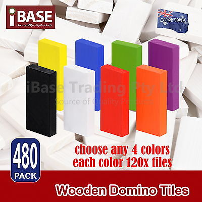 480Pcs Wooden Domino Tiles Tumbling Dominoes Knock M Down Kids Colored Toy Gift