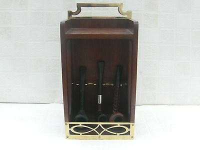 Pipe Rack with Brass Holders and Mounts + Three Pipes L&Co / Bewlay / Rocket