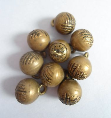 VINTAGE/ANTIQUE c1900 8 FRENCH ROUND BRASS/METAL WAISTCOAT BUTTONS~PARIS/A.P.&CO