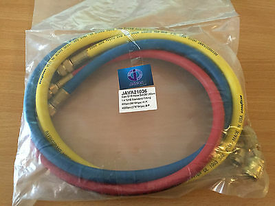 "JAVAC Java21036 set of refrigerant hoses 1/4 SAE 36""long (90cm) 55 Bar R410A"