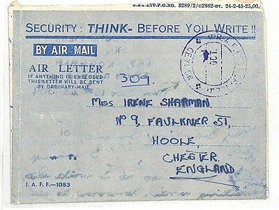 AK65 1945 WW2 ALLIED FORCES *SECURITY* AIRLETTER S.E Asia*Ceylon RAF* GB Chester