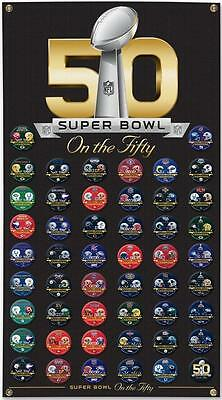 Superbowl 50 Champion Premium Wand Banner,120 cm mit 50 Buttons,NFL Football
