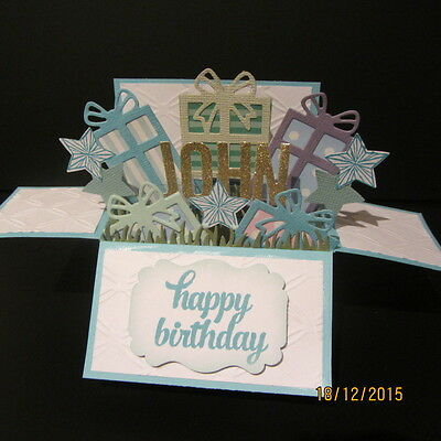 Handmade card, 3D Birthday Card in a box - Presents , PERSONALISED
