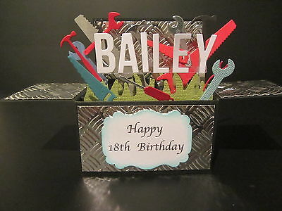 Handmade card, 3D Birthday Card in a box - tool box , PERSONALISED