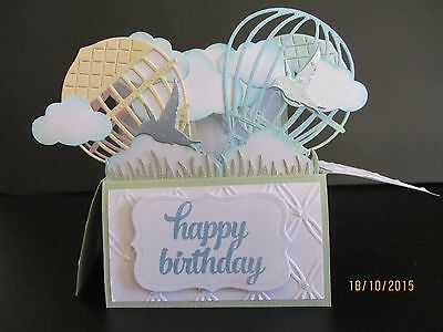 Handmade card, 3D Birthday Card in a box - Hot air balloons,PERSONALISED