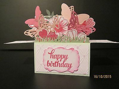 Handmade card, 3D Birthday Card in a box - Flowers & Butterflies,PERSONALISED