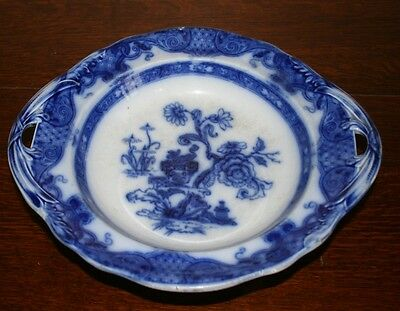 Antique Victorian Ironstone Flow Blue Footed Shallow Dish / Low Comport c.1880's