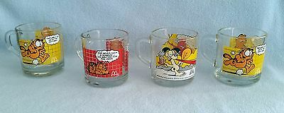 Set Of 4 Mcdonald's Collectible Garfield & Odie Glass Mugs- 1978- Anchor Hocking